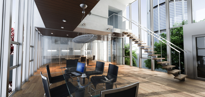 Realistic rendering of a modern luxurious office, with breathtak